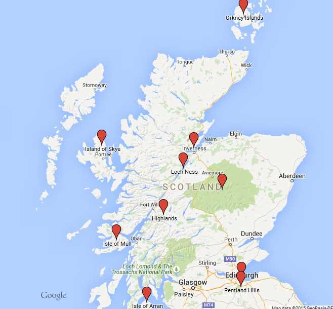 map tailormade trip Scotland